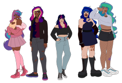 Size: 2582x1768 | Tagged: safe, artist:blacksky1113, oc, oc only, oc:angsty emocore, oc:clausa vera, oc:misanthropy melody, oc:myringa, oc:soprano shadow, human, annoyed, bedroom eyes, belly button, belt, boob window, boots, choker, clothes, coat, commission, converse, dark skin, dress, eyeshadow, female, fishnets, fur coat, gloves, grin, group, half-siblings, heart, hoodie, humanized, humanized oc, jeans, lip piercing, lipstick, makeup, midriff, multicolored hair, nail polish, nose piercing, not cadance, not celestia, not flurry heart, not luna, not twilight sparkle, pants, piercing, shirt, shoes, shorts, siblings, simple background, sisters, skirt, smiling, snake bites, sneakers, socks, spiked choker, spiked wristband, stockings, t-shirt, tattoo, thigh highs, torn clothes, transparent background, unamused, vitiligo, wall of tags, wristband