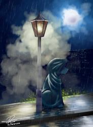 Size: 3300x4500 | Tagged: safe, artist:supermoix, oc, oc:supermoix, pegasus, pony, cloak, clothes, dripping, fog, hood, lamppost, moon, night, rain, solo
