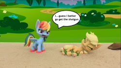 Size: 1231x692 | Tagged: safe, edit, edited screencap, screencap, applejack, rainbow dash, my little pony: pony life, volleyball game between rainbow dash and applejack, applejack's hat, backwards cutie mark, cowboy hat, hat, rainbow douche, sand, stop motion, text