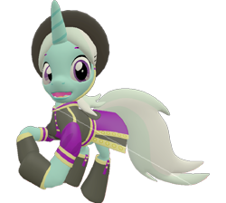Size: 805x720   Tagged: safe, artist:topsangtheman, cornetta, pony, unicorn, the cutie re-mark, 3d, clothes, hat, looking at you, sarcastic clap, simple background, solo, source filmmaker, starlight says bravo, transparent background, uniform