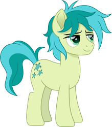 Size: 1313x1500 | Tagged: safe, artist:cloudyglow, sandbar, earth pony, pony, cloudyglowverse, alternate universe, cute, lidded eyes, male, movie accurate, older, older sandbar, part of a set, sandabetes, simple background, solo, stallion, transparent background