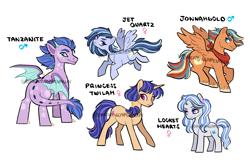 Size: 3600x2400 | Tagged: safe, artist:dreamscapevalley, oc, oc only, oc:jet quartz, oc:jonnahgold, oc:locket hearts, oc:princess twila, oc:tanzanite, dracony, earth pony, hybrid, pegasus, pony, unicorn, female, interspecies offspring, magical lesbian spawn, male, mare, neckerchief, next generation, offspring, parent:applejack, parent:diamond tiara, parent:flash sentry, parent:pipsqueak, parent:rainbow dash, parent:rarity, parent:spike, parent:twilight sparkle, parents:appledash, parents:flashlight, parents:limin', parents:piptiara, parents:sparity, simple background, stallion, white background