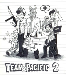 Size: 1078x1243 | Tagged: safe, artist:wolfjedisamuel, fluttershy, oc, human, pegasus, pony, fluttermedic, furry, furry oc, heavy, lined paper, medic, monochrome, team fortress 2, traditional art, weapon