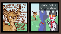 Size: 1280x720 | Tagged: safe, edit, editor:sunberry, cat, deer, pony town, antlers, brown eyes, collar, comic, dialogue, fleshbaby, grass, meme, mocking, necktie, sky, speech bubble, text