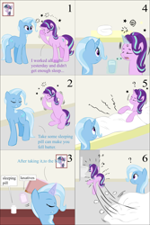 Size: 2000x3000 | Tagged: safe, artist:lzh, derpibooru exclusive, starlight glimmer, trixie, twilight sparkle, pony, unicorn, bed, comic, cup, excited, female, headache, laxative, misspelling, old master q, pill, sleeping pill, table, toilet