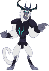 Size: 6591x9542 | Tagged: safe, artist:andoanimalia, storm king, semi-anthro, my little pony: the movie, absurd resolution, antagonist, armor, crown, male, pointing, regalia, simple background, transparent background, vector