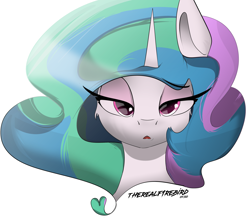 Size: 3649x3187 | Tagged: safe, artist:therealf1rebird, princess celestia, alicorn, pony, bedroom eyes, bust, cheek fluff, cute, cutelestia, eye, eyelashes, eyes, female, head, heart, high res, horn, mane, mare, mouth, mouth hold, portrait, solo