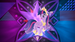 Size: 3840x2160 | Tagged: safe, artist:laszlvfx, artist:limedazzle, edit, twilight sparkle, alicorn, pony, the last problem, alternate design, crown, female, folded wings, hoof shoes, jewelry, mare, open mouth, princess twilight 2.0, regalia, solo, twilight sparkle (alicorn), wallpaper, wallpaper edit, wings