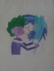 Size: 2069x2728 | Tagged: safe, dj pon-3, spike, vinyl scratch, human, pony, equestria girls, female, hug, human spike, humanized, kissing, male, shipping, spike kisses all equestria girls, spikelove, straight, traditional art, vinylspike