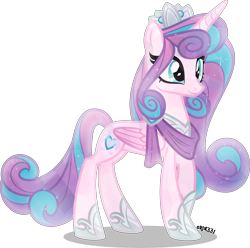 Size: 4000x3964 | Tagged: safe, artist:orin331, princess flurry heart, alicorn, crystal pony, pony, crown, crystallized, cutie mark, female, jewelry, mare, older, older flurry heart, raised hoof, regalia, simple background, solo, transparent background