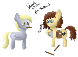 Size: 3785x2765 | Tagged: safe, artist:mlplayer dudez, derpy hooves, oc, oc:heartbreak, earth pony, pegasus, pony, bag, branding, chest fluff, commission, cute, duo, ear fluff, excited, fanfic art, female, happy, human in equestria, human to pony, mare, mouth hold, my little heartbreak, pencil, request, rule 63, saddle bag, shading, signature, simple background, smiling, squee