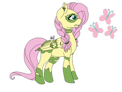 Size: 2048x1536   Tagged: safe, artist:alilunaa, fluttershy, pegasus, pony, the cutie re-mark, blank flank, braid, female, mare, piercing, project:chrysalis amiss, simple background, solo, transparent background