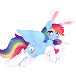 Size: 2000x2000 | Tagged: safe, artist:okity, rainbow dash, pegasus, pony, bunny ears, cheek fluff, chest fluff, clothes, cute, dashabetes, female, mare, prone, socks, solo, spread wings, wings