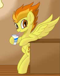 Size: 1367x1750 | Tagged: safe, artist:notadeliciouspotato, spitfire, pegasus, pony, semi-anthro, bipedal, bipedal leaning, counter, cup, drinking, drinking straw, female, hoof hold, leaning, lightbulb, looking at you, mare, raised leg, smiling, solo, spread wings, wings