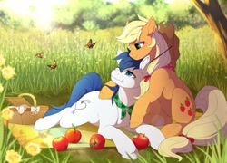 Size: 1600x1150 | Tagged: safe, artist:mr-tiaa, applejack, oc, oc:constance everheart, butterfly, apple, bandana, basket, canon x oc, clothes, commission, everjack, female, food, forest, hug, male, picnic, picnic basket, scarf, scenery, shipping, straight