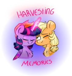 Size: 762x810 | Tagged: safe, artist:honneymoonmlp, applejack, twilight sparkle, alicorn, earth pony, pony, unicorn, spoiler:harvesting memories, applejack's hat, blushing, cowboy hat, female, hat, lesbian, nuzzling, shipping, twijack, twilight sparkle (alicorn)
