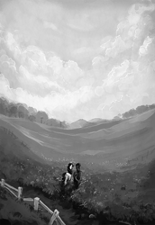 Size: 1450x2110 | Tagged: safe, artist:nemo2d, rainbow dash, rarity, pegasus, pony, unicorn, fanfic:salvation, duo, fanfic art, female, field, grayscale, mare, monochrome, scenery