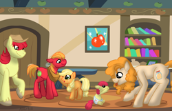 Size: 1000x645 | Tagged: safe, artist:mikeyboo, apple bloom, applejack, big macintosh, bright mac, pear butter, earth pony, pony, apple family, apple siblings, apple sisters, baby, baby apple bloom, baby pony, brother and sister, feels, female, filly, filly applejack, foal, male, siblings, sisters, teenage big macintosh, teenager, younger
