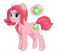 Size: 1280x1166 | Tagged: safe, artist:bokkitoki, oc, oc only, oc:primrose cider, earth pony, pony, cutie mark, ear piercing, earring, female, grin, jewelry, magical lesbian spawn, offspring, parent:apple bloom, parent:diamond tiara, parents:diamondbloom, piercing, simple background, smiling, solo, tiara, white background