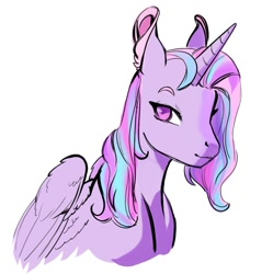 Size: 971x974 | Tagged: safe, artist:bokkitoki, princess flurry heart, alicorn, pony, bust, ear fluff, female, horn, older, older flurry heart, simple background, smiling, solo, white background, wings
