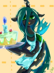 Size: 768x1024 | Tagged: safe, artist:tomizawa96, queen chrysalis, changeling, changeling queen, bipedal, cake, candle, cute, cutealis, female, food, solo