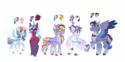 Size: 5081x2512 | Tagged: safe, artist:scarletskitty12, applejack, fizzlepop berrytwist, flash sentry, fluttershy, princess cadance, rainbow dash, shining armor, tempest shadow, twilight sparkle, oc, oc:comet spark, oc:fletcher, oc:spectrum soar, oc:tranquility, oc:zap apple, alicorn, earth pony, pegasus, pony, unicorn, appledash, bandaid, biting, blank flank, blind eye, bowtie, chest fluff, cloven hooves, colored wings, ear bite, female, flashlight, fluffy, flutterdash, freckles, glasses, hat, horn, lesbian, magical lesbian spawn, male, mare, multicolored wings, offspring, parent:applejack, parent:flash sentry, parent:fluttershy, parent:princess cadance, parent:rainbow dash, parent:shining armor, parent:tempest shadow, parent:twilight sparkle, parents:appledash, parents:flashlight, parents:flutterdash, parents:shiningcadance, parents:tempestlight, pegasus oc, rainbow wings, shiningcadance, shipping, simple background, stallion, star (coat marking), straight, tempestlight, unicorn oc, unshorn fetlocks, watermark, white background, wings