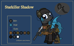 Size: 4999x3134 | Tagged: safe, artist:n0kkun, oc, oc only, oc:starkiller shadow, bat pony, pony, armor, assault rifle, bat pony oc, bat wings, baton, beanie, belt, blue background, boots, clothes, commission, female, flag, gloves, gun, handgun, hat, headset, holster, knife, mare, p226, pants, pistol, pouch, reference sheet, rifle, shoes, simple background, solo, spy suit, weapon, wings