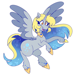 Size: 500x500 | Tagged: safe, artist:cubbybatdoodles, derpy hooves, ditzy doo, alicorn, pony, alicornified, best princess, derpicorn, female, jewelry, mare, race swap, rearing, regalia, simple background, smiling, solo, transparent background, unshorn fetlocks