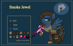 Size: 4999x3134 | Tagged: safe, artist:n0kkun, oc, oc only, oc:smoke jewel, pegasus, pony, assault rifle, belt, blue background, boots, camouflage, clothes, commission, dirt, female, g36, gas mask, gloves, grenade, gun, handgun, holster, m1911, mare, mask, midriff, mud, pants, pistol, pouch, raised hoof, reference sheet, rifle, shoes, simple background, smiling, smirk, smug, solo, tanktop, tattoo, weapon