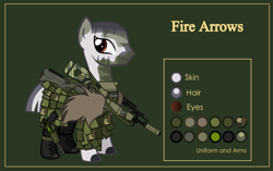 Size: 4999x3134 | Tagged: safe, artist:n0kkun, oc, oc only, oc:fire arrows, zebra, armor, arrow, boots, camouflage, clothes, commission, crossbow, face paint, female, ghillie suit, green background, gun, handgun, holster, m14, pants, pistol, reference sheet, rifle, shoes, simple background, solo, weapon, zebra oc