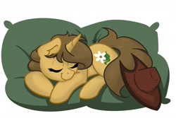 Size: 1800x1200 | Tagged: safe, artist:cadetredshirt, oc, oc only, oc:buckwheat, pony, unicorn, commission, cowboy hat, digital art, ear fluff, eyes closed, hat, horn, long tail, pillow, sleeping, smiling, solo, ych result, your character here