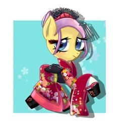 Size: 768x768 | Tagged: safe, artist:tomizawa96, fluttershy, pegasus, pony, alternate hairstyle, clothes, flower, kimono (clothing), shoes, solo