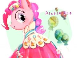 Size: 1024x768 | Tagged: safe, artist:tomizawa96, pinkie pie, earth pony, pony, balloon, clothes, dress, from behind, gala dress, looking back, pinkie pie's birthday, solo, text