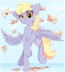 Size: 3000x3322 | Tagged: safe, artist:buru-misu, derpy hooves, pegasus, pony, cheek fluff, chest fluff, cute, derpabetes, ear fluff, female, high res, leg fluff, letter, looking at you, mare, solo
