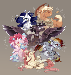 Size: 3285x3508 | Tagged: safe, artist:olivecow, applejack, fluttershy, pinkie pie, rainbow dash, rarity, twilight sparkle, alicorn, earth pony, pegasus, pony, unicorn, alternate design, applejacked, flexing, flower, flower in hair, glasses, gray background, grin, group shot, jewelry, mane six, muscles, necklace, redesign, scar, simple background, smiling, speedpaint available, twilight sparkle (alicorn)