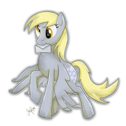 Size: 800x800 | Tagged: safe, artist:themoonfall, derpy hooves, pegasus, pony, cute, derpabetes, female, letter, mare, mouth hold, simple background, solo, transparent background
