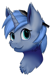 Size: 1768x2480 | Tagged: safe, artist:noxi1_48, edit, editor:djdavid98, oc, oc only, oc:paamayim nekudotayim, pony, unicorn, bust, cheek fluff, chest fluff, disembodied head, ear fluff, looking at you, portrait, shading, signature, simple background, soft shading, solo, stylus, transparent background