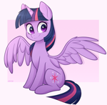 Size: 2045x2000 | Tagged: safe, artist:higgly-chan, twilight sparkle, alicorn, pony, cute, cutie mark, female, high res, mare, simple background, sitting, smiling, solo, spread wings, twiabetes, twilight sparkle (alicorn), white background, wings