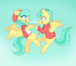 Size: 1600x1400   Tagged: safe, artist:vert_glamis, barley barrel, pickle barrel, pegasus, pony, rainbow roadtrip, brother and sister, clothes, colt, duo, female, filly, flying, hat, male, siblings, sky, spread wings, sweater, tongue out, wings