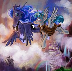 Size: 1333x1318   Tagged: safe, artist:aerosaur83, princess luna, stygian, alicorn, unicorn, canterlot castle, cloud, female, flying, looking at each other, male, pseudo-alicorn, rainbow, romantic, shipping, straight, stygicorn, styuna, waterfall, winged unicorn