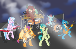 Size: 4096x2650 | Tagged: safe, artist:marblefang, gallus, ocellus, sandbar, silverstream, smolder, yona, changeling, dragon, griffon, hippogriff, pony, yak, bass drum, bass guitar, bipedal, concert, cute, diaocelles, diastreamies, drum kit, drums, electric guitar, europe (band), gallabetes, guitar, keyboard, musical instrument, sandabetes, smoke, smolderbetes, stage, student six, yonadorable