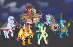 Size: 4096x2650 | Tagged: safe, alternate version, artist:marblefang, gallus, ocellus, sandbar, silverstream, smolder, yona, changeling, dragon, griffon, hippogriff, pony, yak, bass drum, bass guitar, bipedal, concert, cute, diaocelles, diastreamies, drum kit, drums, electric guitar, europe (band), gallabetes, guitar, keyboard, musical instrument, sandabetes, smoke, smolderbetes, stage, student six, yonadorable