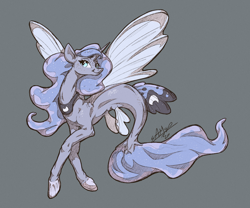 Size: 1440x1200   Tagged: safe, artist:assasinmonkey, princess luna, alicorn, seapony (g4), digital art, female, fin wings, fish tail, flowing mane, freckles, green eyes, hoof shoes, horn, mermay, seaponified, seapony luna, signature, simple background, smiling, solo, species swap, wings