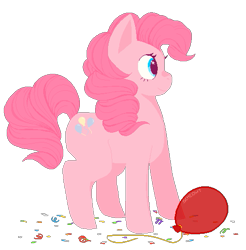 Size: 499x507 | Tagged: safe, artist:scmeowt, pinkie pie, earth pony, pony, balloon, confetti, cute, diapinkes, female, mare, profile, simple background, solo, transparent background