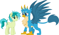 Size: 2529x1500 | Tagged: safe, artist:cloudyglow, gallus, sandbar, earth pony, griffon, pony, cloudyglowverse, bedroom eyes, chest fluff, cute, gallabetes, gallbar, gay, leonine tail, looking at each other, male, movie accurate, older, older gallus, older sandbar, raised tail, sandabetes, shipping, simple background, spread wings, stallion, tail, transparent background, wings