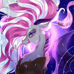 Size: 2000x2000 | Tagged: safe, artist:bunnari, oc, oc only, oc:pandora, draconequus, hybrid, bust, draconequus oc, flowing mane, gift art, interspecies offspring, looking at you, offspring, parent:discord, parent:twilight sparkle, parents:discolight, profile, solo, tongue out