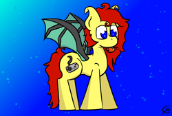 Size: 1600x1080 | Tagged: safe, artist:gamer-shy, oc, oc only, oc:gamershy yellowstar, bat pony, pony, blue background, blue eyes, food, fruit, hooked ears, messy mane, peach, red mane, simple background, yellow fur
