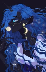 Size: 1024x1580 | Tagged: safe, artist:xieyanbbb, princess luna, alicorn, human, clothes, constellation, constellation freckles, crescent moon, dark skin, dress, ear piercing, eared humanization, earring, freckles, horn, horned humanization, humanized, jewelry, moon, nail polish, open mouth, piercing, profile, solo, stars