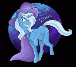 Size: 2289x2000 | Tagged: safe, artist:callatejen, artist:shutupjen, trixie, pony, unicorn, cape, clothes, female, grin, hat, mare, raised hoof, smiling, solo, stars, text, trixie's cape, trixie's hat