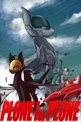 Size: 1000x1500 | Tagged: safe, artist:andromailus, original species, plane pony, pony, cloud, crossover, f-22 raptor, kill la kill, missile, plane, ryuko matoi, satsuki kiryuin, yf-23